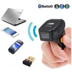 Czytnik kodów kreskowych QR na palec Bluetooth i kabel USB 2