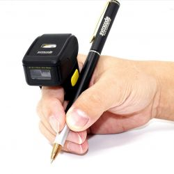 Czytnik kodów kreskowych QR na palec Bluetooth i kabel USB
