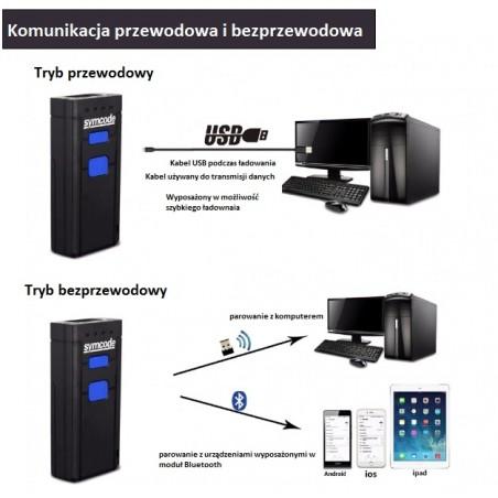 Kieszonkowy mini czytnik kodów kreskowych 2D QR Bluetooth 2.4G kabel USB