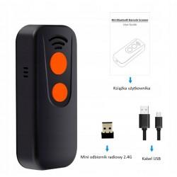 Kieszonkowy mini czytnik kodów kreskowych QR Aztec MaxiCode Bluetooth USB 2.4G 2