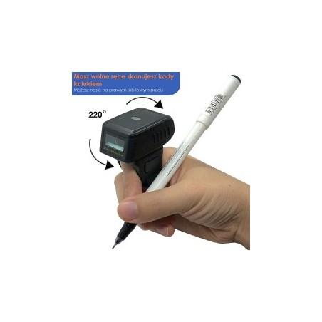 Czytnik kodów kreskowych QR na palec 1D 2D potrójna komunikacja Bluetooth bezprzewodowy 2.4G kabel USB