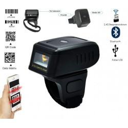 Czytnik kodów kreskowych QR na palec 1D 2D potrójna komunikacja Bluetooth bezprzewodowy 2.4G kabel USB 2
