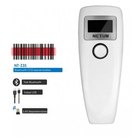 Bezprzewodowy czytnik kodów kreskowych QR 2D z wyświetlaczem Bluetooth kabel USB 2 w 1