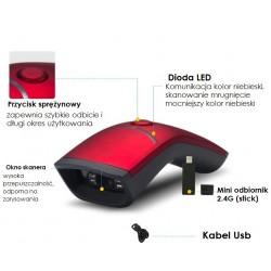 Bezprzewodowy przewodowy i Bluetooth czytnik kodów kreskowych 1D 2D QR Aztec MaxiCode 1800mAh