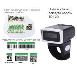 Bezprzewodowy czytnik kodów kreskowych QR na palec obrotowy 2.4G+Bluetooth + kabel bateria 380mAh 2