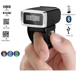 Bezprzewodowy czytnik kodów kreskowych QR na palec obrotowy 2.4G+Bluetooth + kabel bateria 380mAh