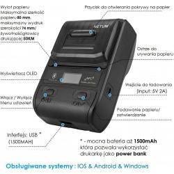 Mobilna Bluetooth drukarka termiczna etykiet i kwitów 2 w 1 80MM 2