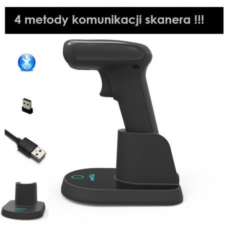 Czytnik kodów kreskowych 1D 2D QR Aztec 2.4G Bluetooth kabel z bazą