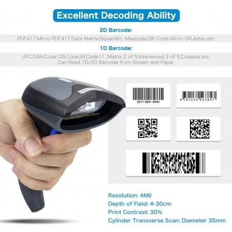 Bluetooth i bezprzewodowy czytnik kodów kreskowych QR 1D 2D Mega szybki