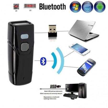 Kieszonkowy Bezprzewodowy 2.4G Bluetooth kabel mini czytnik kodów kreskowych 1D i 2D QR Aztec