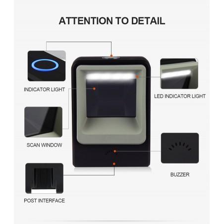 Stacjonarny czytnik kodów 1D 2D QR Aztec MaxiCode odczyt ekran monitor